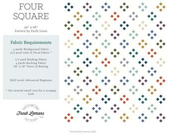 Modern Quilt Pattern - Four Square - PDF