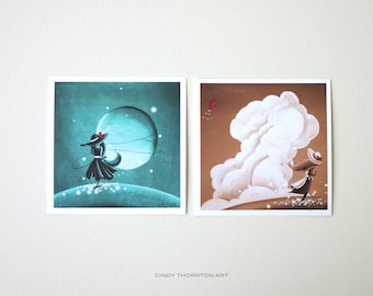 Dreamer Series Mini Print Set- 'Moonrise' & 'Paper and String' - Signed