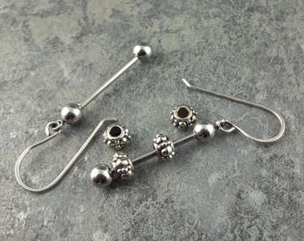 """1  1/4"""" Ready to Assemble Earring Set - DIY Stainless Steel Bead Bars, earring bead bars, jewelry supplies, 1.25"""" interchangeable beadable"""
