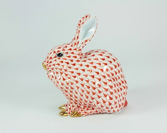 Vintage Herend Bunny Sitting, Vintage Herend Porcelain, Herend Rabbit, Herend Porcelain, Herend Bunny, Herend Home Decor, Large Herend Bunny