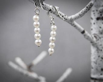 Pearl Earrings June Birthstone Wedding Earrings Bridal Earrings Silver Earrings Dangle Earrings Minimal Earrings Minimalist Earrings