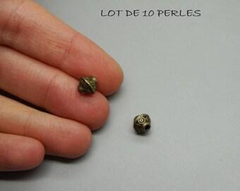 SET of 10 beads ethnic arabesque bronze 6mm (U24)