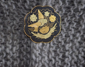 Tasha Tudor Style Vintage Shawl Brooch   Round Inlaid with Gold tone Bird Basket Flowers Shawl scarf pin