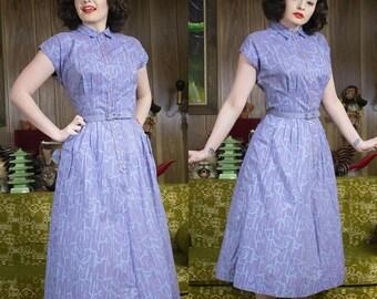 40s Purple Dress | 1940s Dress | 40s Dress | 40s Cotton Dress | 40s Novelty Dress | 40s Shirt Dress | 40s Full Skirt | 40s Day Dress