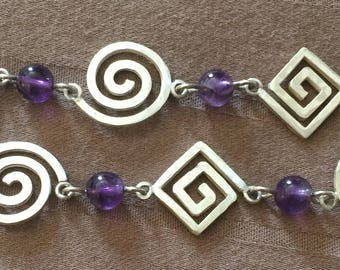 Sterling Silver 925 and Purple Beaded Bracelet