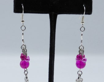 Pink chandelier earrings in glass and silvery metal
