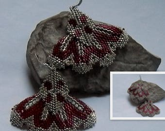 Burgundy and silver weave earrings