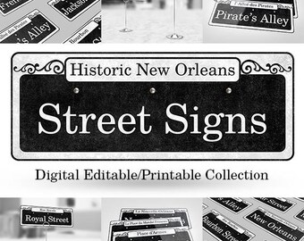 Street Signs of the French Quarter Collection Digital Editable Printables