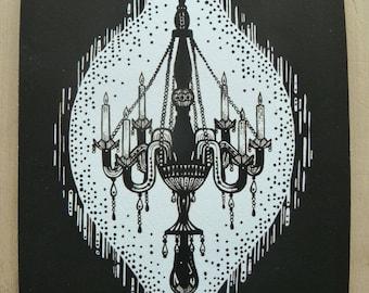 Chandelier 5 x 8 giclee art print, A5 print, black and white illustration, chandelier illustration, gothic style, chandelier art