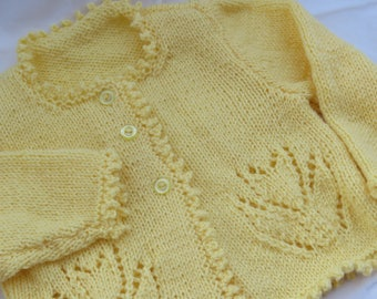 Lemonade Yellow Tulip Baby Sweater/Hand Knit/Size 18 Month/Baby Gift
