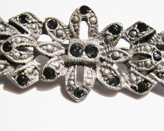 Vintage art deco silver and black bar pin with black rhinestones, vintage brooch, vintage jewelry, vintage pin