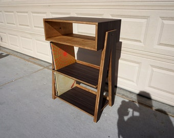 Record Player Stand And Vinyl Display With Component Storage
