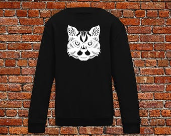 Cat sweater, cat lover, animal sweater, zen style cat, henna print sweater, cat print, cat head sweater, hipster gift, gift for tattoo lover