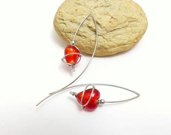 Modern earrings heart Valentine's day celebrates mothers large hooks, glass and surgical steel (GC14)