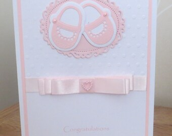 Unique New Arrival, Baby girl, Congratulations, Birth Announcement handmade card