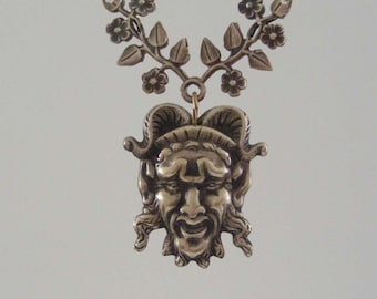 Vintage Pendant - Devil Pan - Green Man - Vintage Brass Stamping - Large for Necklace - Handmade