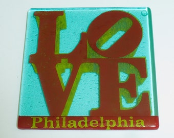 Love Philadelphia Trivet, Fused Glass Trivet, Greetings From Philadelphia, US City Decor