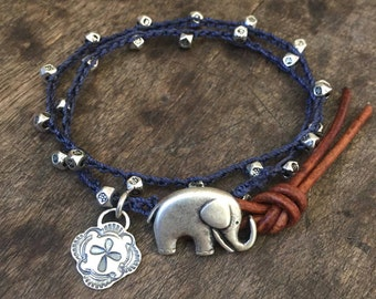 Boho Elephant Bracelet, Crochet Bracelet, Silver Beaded Bracelet, Leather Wrap Bracelet, Silver Boho Jewelry, Elephant Jewelry