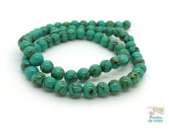 70 beads 6mm turquoise Howlite (ph222)