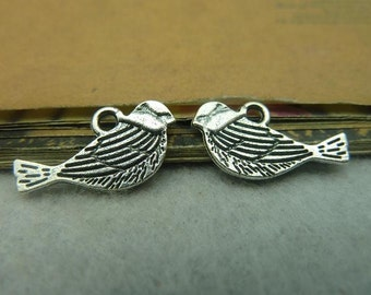 50 Antique Bronze Silver 11x20mm Bird Charms Pendants AC3918