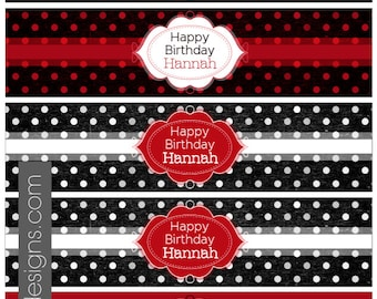 Custom Printable Water Bottle Labels - Red, black and white, polka dots