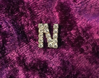 "Vintage Sparkling Rhinestone  ""N"" Pin"