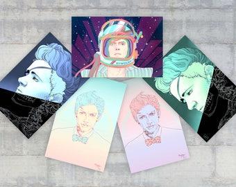 Set of 5 Tribute Postcards - Ziggy Stardust - Madame Curie - Jeff Goldblum - 4x6 - A6 - Painting - Illustration - Portrait - Science
