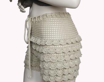 Handmade Crochet beach shorts, Lace Shorts, Crochet shorts, crochet handmade, summer shorts, camel color handmade lace short