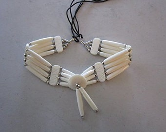 Bone Choker Necklace Hand Crafted 4 Strand Buffalo Bone Hair Pipes Ceromonial Indian Regalia