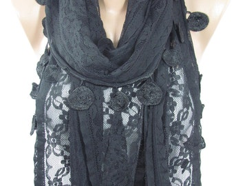 Lace Scarf Black Scarf Shawl Boho   Fashion Scarf Black Wedding Scarf  For Mom  For Mothers Day Gift For Her For Women Holiday Gift