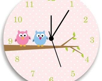 Girls Bedroom Pink Wall Clock, Owls on Tree, Nursery Room Decor