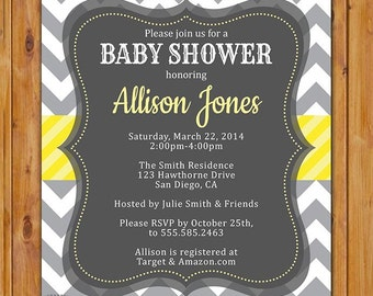 Baby Shower Invitation Grey Yellow White Chevron Gender Neutral Printable Shower Birthday Baby Invite Digital JPG 5x7 (200)