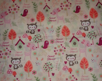 Pastel Girl Woodland Animal Cotton Fabric by the Yard