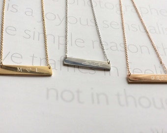 Bridesmaid Gift, Initial Bar Necklace, Custom Name Necklace, Personalized Necklace, Letter Bar Necklace, Rose Gold Jewelry