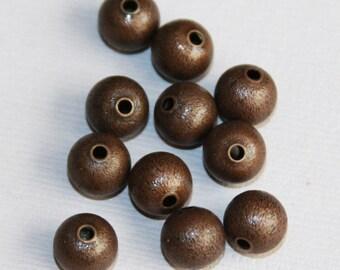 50 pcs of Anitque copper round brush beads 8mm