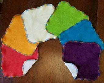 """6 Rainbow 7"""" x 7"""" Velour Baby Wipes"""