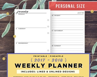 Personal Planner Inserts, Weekly Planner 2017-2018, Printable Week on 2 Pages (WO2P), Dated Agenda, Filofax Horizontal, Kikki K, Minimalist