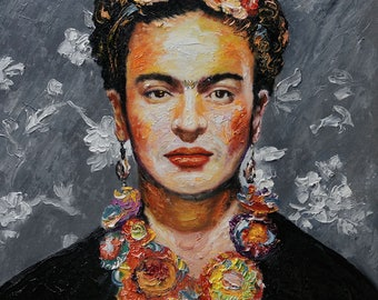 Frida Kahlo portrait original oil paintings and watercolor paintings by artocrat