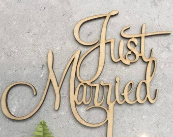 Just Married Rustic Wood Wedding Cake Topper