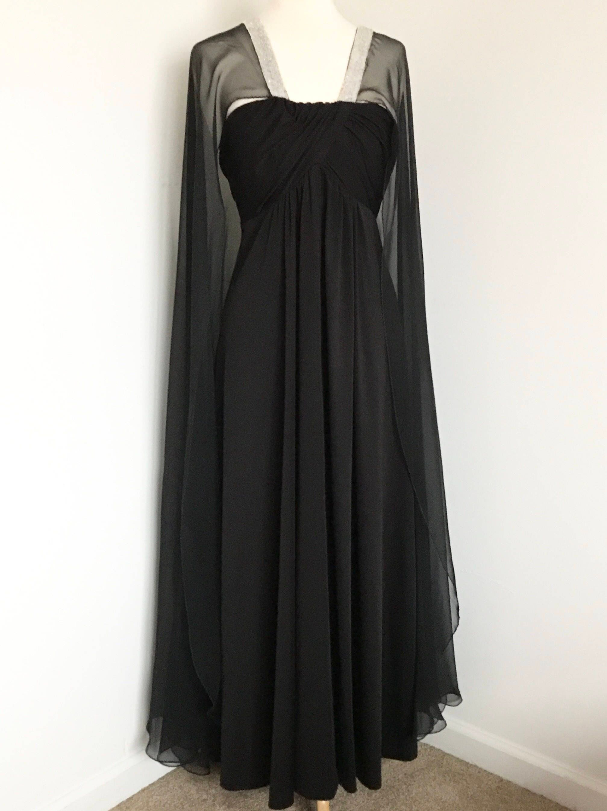 Vintage Black evening gown with sheer full-length cape