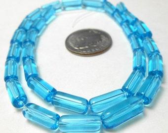 32 Aqua Glass Tube Beads 10MM (H2519)