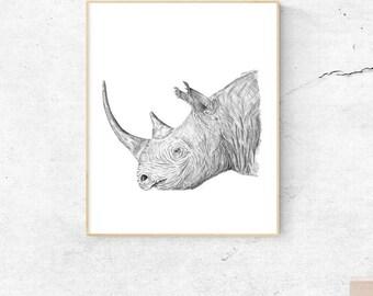 Safari Nursery Prints | Safari Nursery Wall Art | Rhino Art Print | Rhino Art | Rhino Print | Safari Nursery Decor | Rhinoceros | Rhino Head