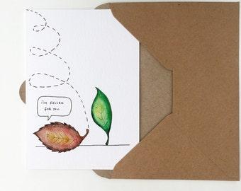 Romantic (Valentines Day/Anniversary) Love Leaf Pun Greeting Card