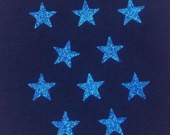 10 little stars clothing blue glittery 15x15mm