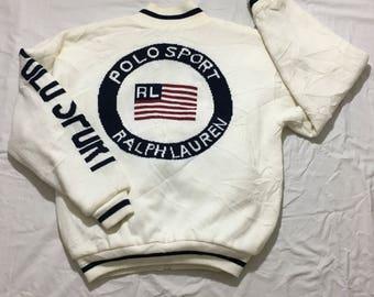 Rare! Vintage 90s Polo Sport Ralph Lauren big logo on the back Knit-jacket