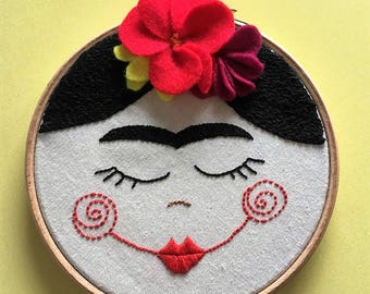 Frida dolly embroidered wall art