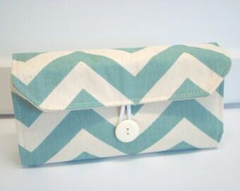 Cash Envelope Wallet  / Dave Ramsey System / Zipper Envelopes - Blue and Natural Chevron Zig Zag