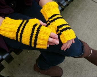 Harry Potter Inspired Hufflepuff Fingerless Gloves - Texting Gloves Wristwarmers - Yellow and Black Stripes Hand Knit Fingerless Mittens