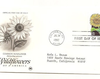 10 Old Vintage 1992 Wildflowers of America FIRST DAY Of  ISSUE Covers