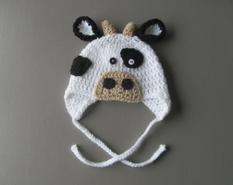 Crocheted Cow baby hat